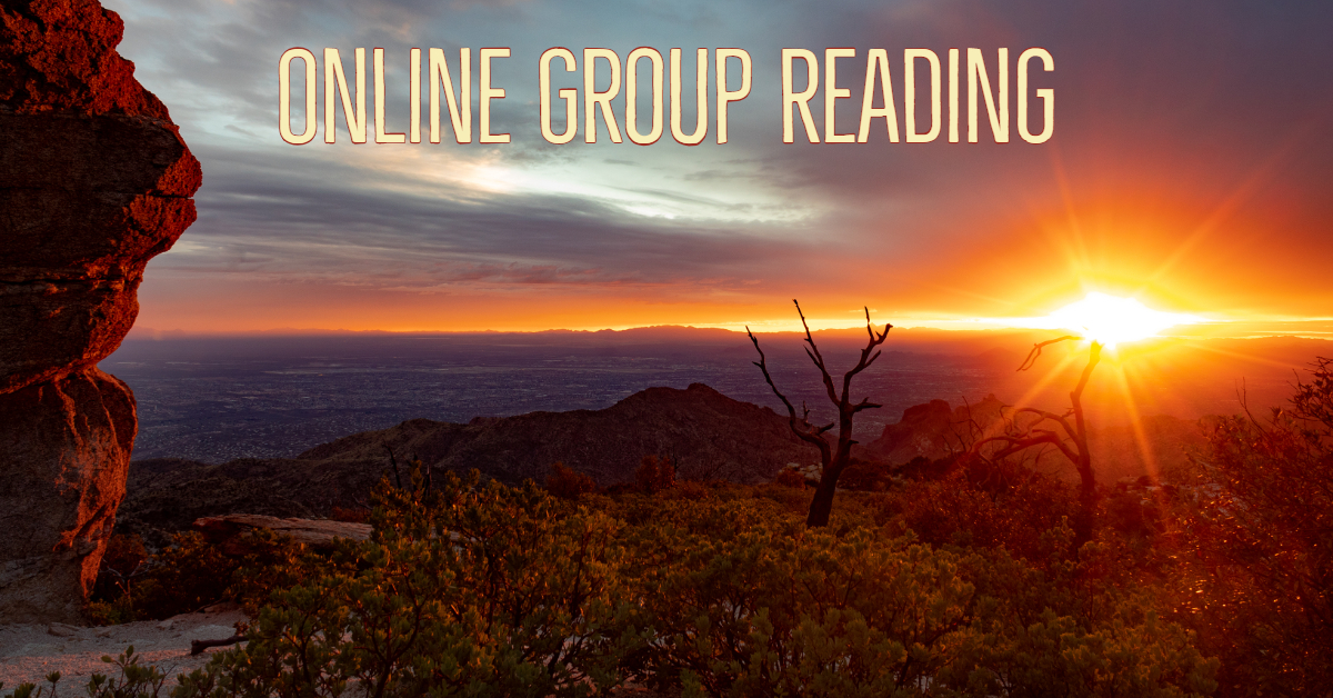 A poster simply stating online group reading. Background is a photograph of a colorful and brilliant sunset taken by photographer and psychic medium (animal communicator) Charles Peden. Location is near Windy Point of Mount Lemmon in the Catalina Mountains north of Tucson, Arizona, USA.